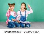 two children study a school... | Shutterstock . vector #793997164