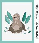 cute sloth in green leaves. ...   Shutterstock .eps vector #794003788