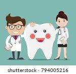 doctor with happy healthy teeth ... | Shutterstock .eps vector #794005216