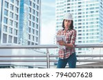 worker women with white helmet... | Shutterstock . vector #794007628