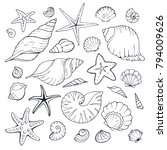 hand drawn sea shells and stars ... | Shutterstock .eps vector #794009626