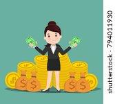 business women with money  ... | Shutterstock .eps vector #794011930