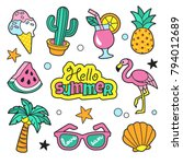 summer patches collection.... | Shutterstock .eps vector #794012689