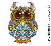 vector zendoodle ornate owl