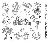 summer icons collection. vector ... | Shutterstock .eps vector #794019340