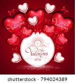 happy valentine's day card... | Shutterstock .eps vector #794024389