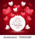 happy valentine's day card... | Shutterstock .eps vector #794024389