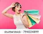 portrait of a shocked girl... | Shutterstock . vector #794024899