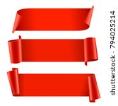 ribbons set. realistic red... | Shutterstock .eps vector #794025214