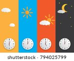 clock with day night concept... | Shutterstock .eps vector #794025799