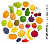 a set of different fruits and... | Shutterstock .eps vector #794027578
