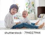 little toddler boy  playing... | Shutterstock . vector #794027944