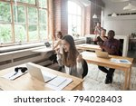 excited surprised woman looking ... | Shutterstock . vector #794028403