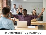 african employee excited about... | Shutterstock . vector #794028430