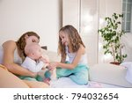 three sisters play children in... | Shutterstock . vector #794032654