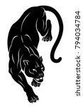 black crouching panther. vector ...