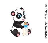 cute baby panda with feeding... | Shutterstock .eps vector #794037040