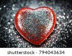 red heart with glitter  black... | Shutterstock . vector #794043634