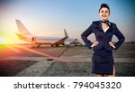 toung slim stewardess and... | Shutterstock . vector #794045320