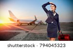 toung slim stewardess and... | Shutterstock . vector #794045323