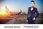 toung slim stewardess and... | Shutterstock . vector #794045329