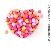 bowl of glossy heart shaped... | Shutterstock . vector #794045794