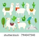 vector illustration set of cute ... | Shutterstock .eps vector #794047540