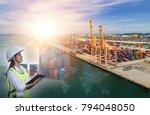 girl supervisor worker checking ... | Shutterstock . vector #794048050