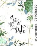 design of wedding invitation.... | Shutterstock .eps vector #794056630