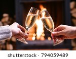one winter evening a couple... | Shutterstock . vector #794059489