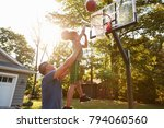 father and son playing... | Shutterstock . vector #794060560
