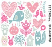scandinavian doodles elements.... | Shutterstock .eps vector #794063188
