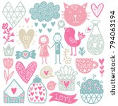 scandinavian doodles elements.... | Shutterstock .eps vector #794063194