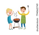happy couple preparing barbecue ... | Shutterstock .eps vector #794063749