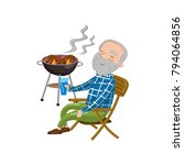 happy smiling grandpa grilling... | Shutterstock .eps vector #794064856