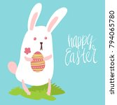 happy easter card template with ... | Shutterstock .eps vector #794065780