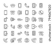 set of 36 phone thin line icons.... | Shutterstock .eps vector #794067820