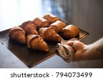 french baker in bakery or cafe...   Shutterstock . vector #794073499