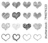 vector set of doodle sketch... | Shutterstock .eps vector #794074123
