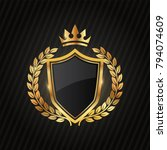 premium luxury gold label... | Shutterstock .eps vector #794074609