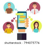 hand with phone and colorful... | Shutterstock .eps vector #794075776