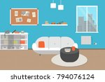 living room with furniture....   Shutterstock .eps vector #794076124