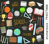 school teacher tools learning... | Shutterstock .eps vector #794077888