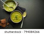 fresh healthy green soup on...   Shutterstock . vector #794084266