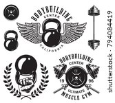 set of bodybuilding emblems... | Shutterstock .eps vector #794084419