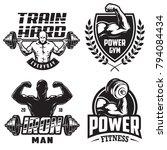 set of monochrome bodybuilding...   Shutterstock .eps vector #794084434
