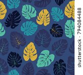 vector tropical pattern with...   Shutterstock .eps vector #794084488