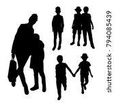 mother and children black... | Shutterstock .eps vector #794085439