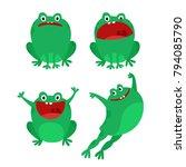 happy funny frog characters set.... | Shutterstock .eps vector #794085790