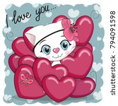 valentine card with cute... | Shutterstock .eps vector #794091598